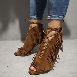 Shoespie Sexy Stiletto Heel Peep Toe Fringe Tassel Pumps