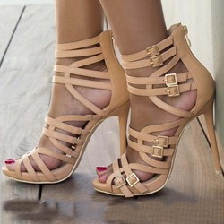 Shoespie Buckle Zipper High Heel Pumps