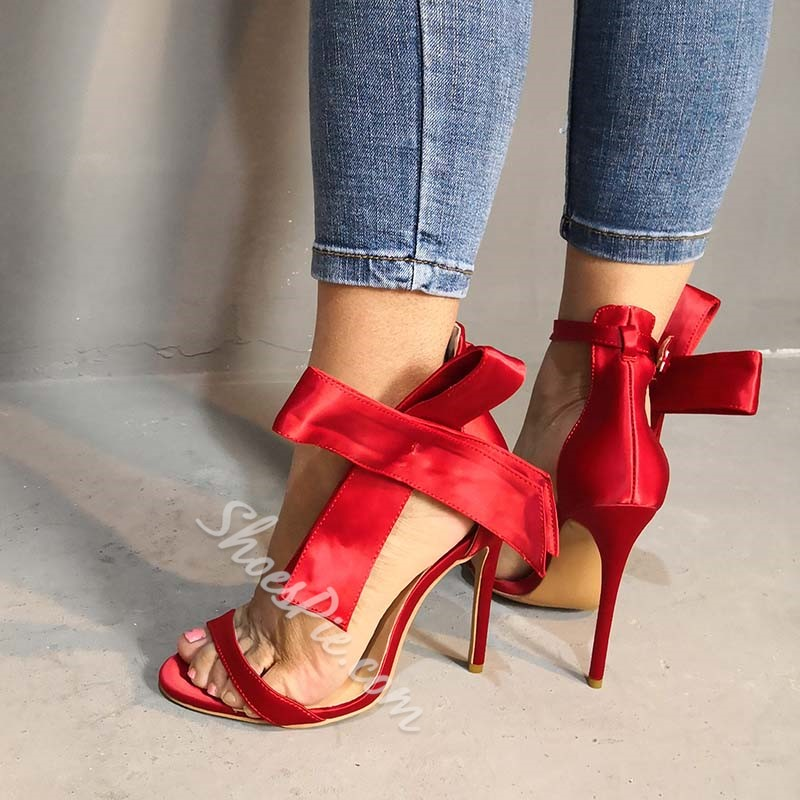 Shoespie Buckle Stiletto Heel Red Bowknot Buckle Sandals