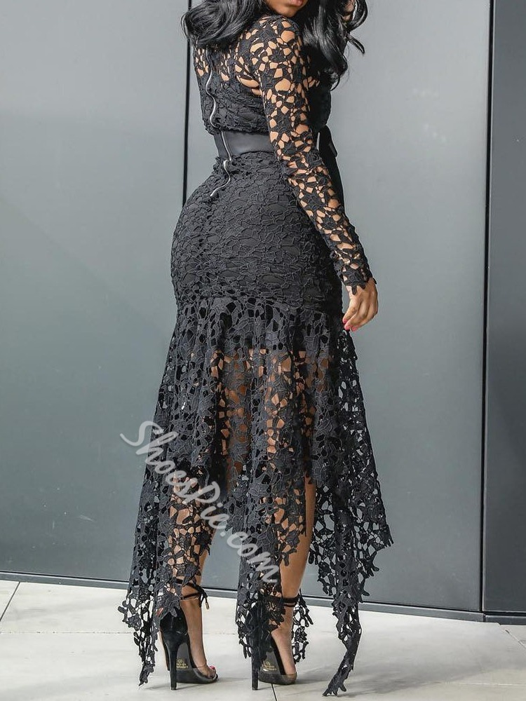 Floor-Length Long Sleeve Lace-Up Pullover Women's Dress