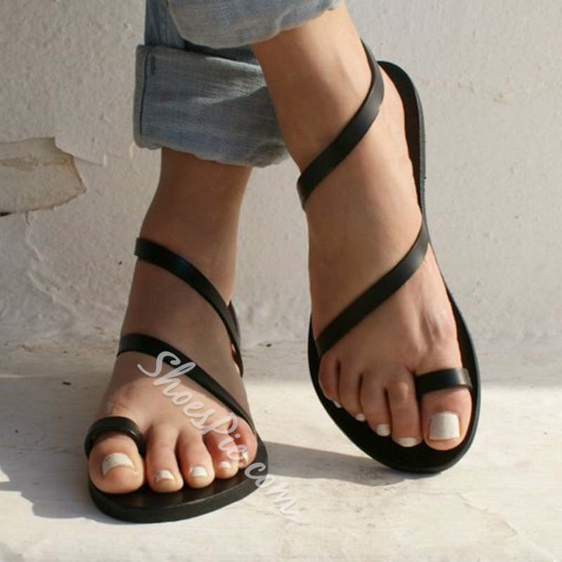 Shoespie Slip-On Toe Ring Flat Summer Sandals