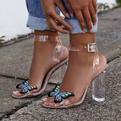 Shoespie Ankle Strap Chunky Heel Clear Sandals