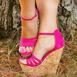 Shoespie Wedge Heel Solid Buckle Strap Sandals