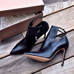 Shoespie Black Buckle Pointed Toe Stiletto Heels