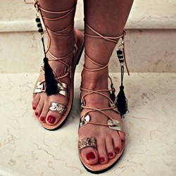 Shoespie Glitter Lace-Up Strappy Tassel Flat Sandals