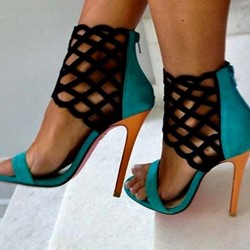 Shoespie Zipper Stiletto Heel Color Block Sandals
