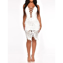 Knee-Length Lace Hollow Women's Bodycon Dress