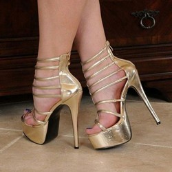 65aadfb0edc Shoespie Golden Zipper Stiletto Heel Prom Sandals