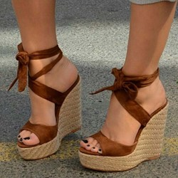 Shoespie Brown Ankle Strap Lace-Up Open Toe Sandals