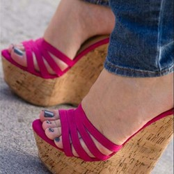 Shoespie Wedge Heel Open Toe Rose Sandals