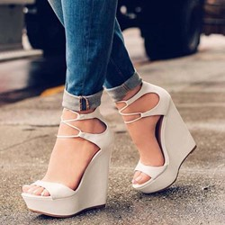 Shoespie Wedge Heel Ope Toe White Sandals