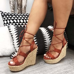 Shoespie Wedge Heel Strappy Open Toe Sandals