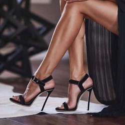 Shoespie Stiletto Heel Ankle Strap Black Sandals