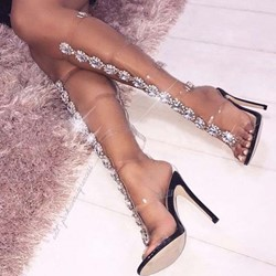 Shoespie Rhinestone Buckle Stiletto Heel Clear Sandals