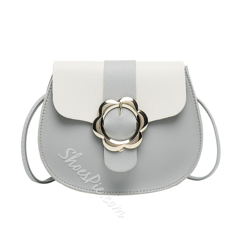 Shoespie Color Block PU Saddle Crossbody Bags