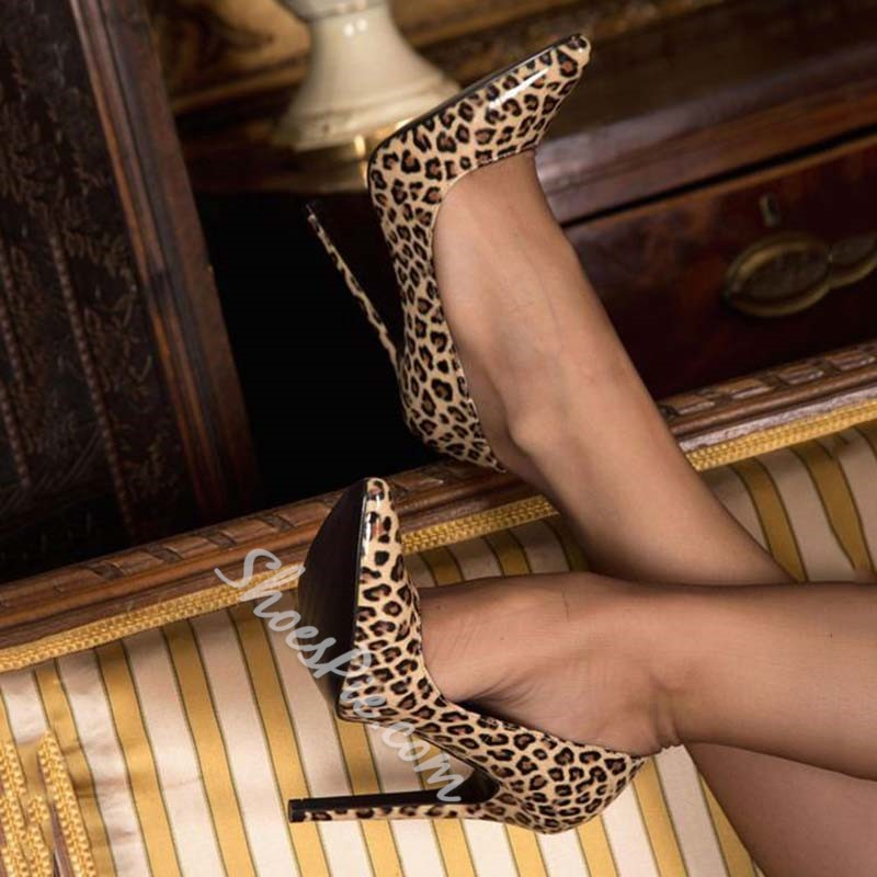 Shoespie Stiletto Heel Leopard Pointed Toe Pumps