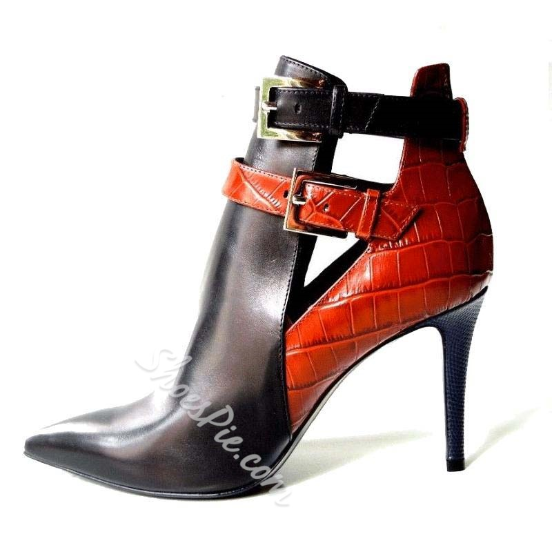 Shoespie Buckle Pointed Toe Stiletto Heels