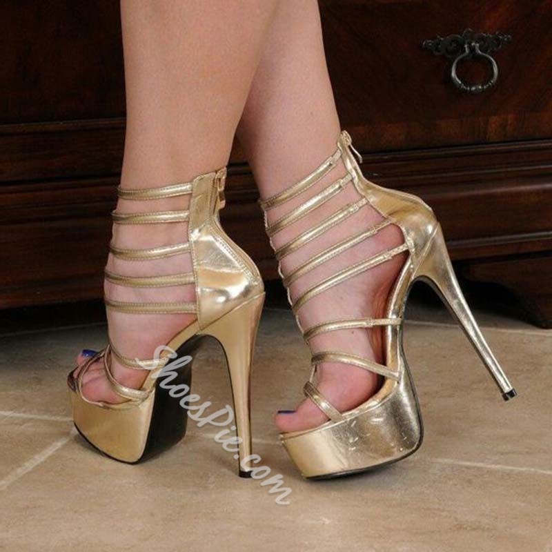 Shoespie Golden Zipper Stiletto Heel Prom Sandals