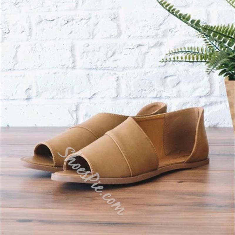 Shoespie Casual Slip-On Open Toe Flat Shoes