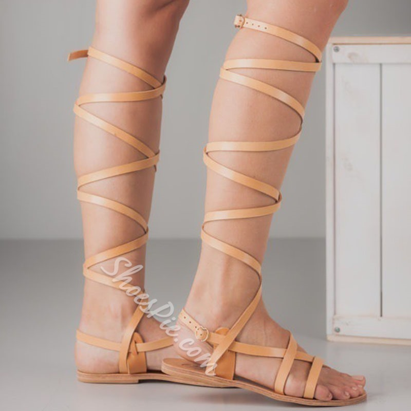 Shoespie Strappy Open Toe Buckle Gladiator Sandals