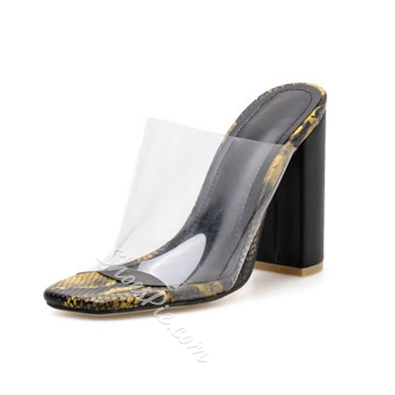 Shoespie Serpentine Clear Chunky Heel Slippers