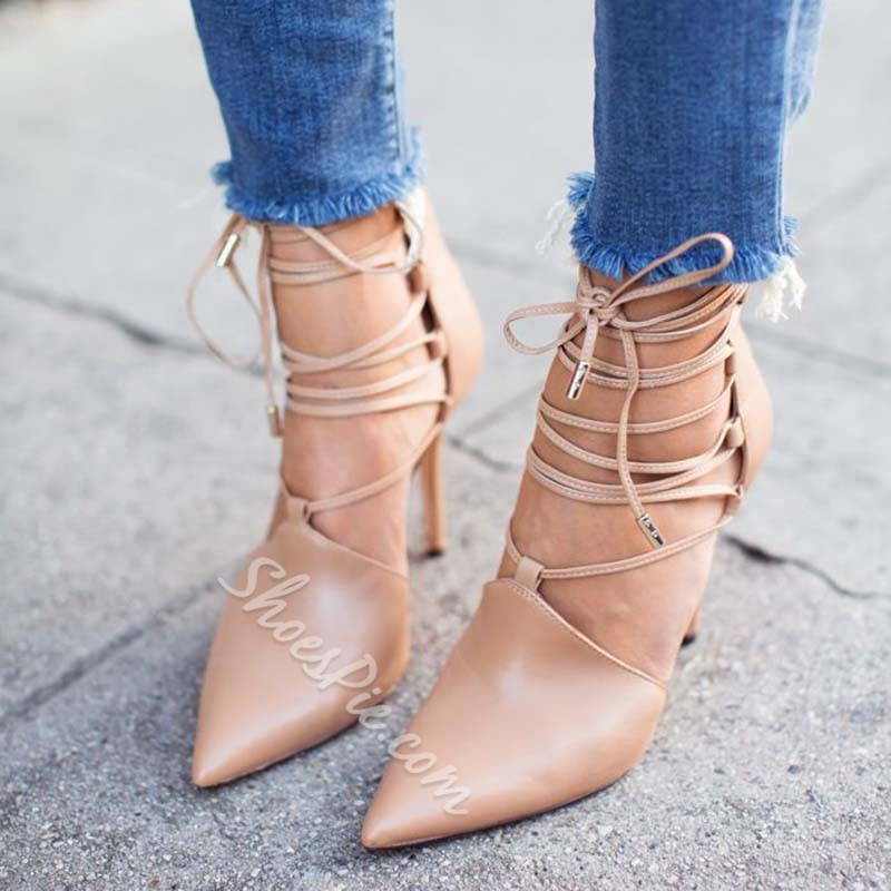 Shoespie Nude Stiletto Heel Lace-Up Pointed Toe Pumps