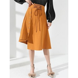 Asymmetrical Button Plain Fashion Women's Skirt