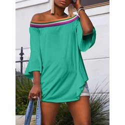 Mid-Length Color Block Three-Quarter Sleeve Straight Women's T-Shirt