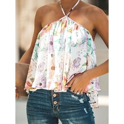 Print Floral Short Women's Blouse