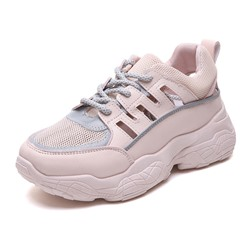 Shoespie Hollow Lace-Up Chunky Casual Sneakers