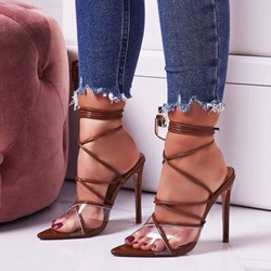 Shoespie Stiletto Heel Strappy Clear Sandals