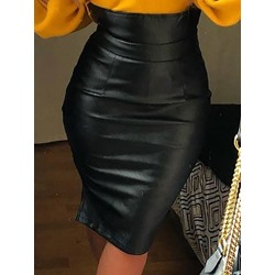 Bodycon Knee-Length Plain Western Women's Skirt