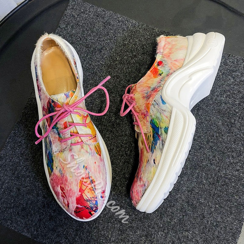 Shoespie Print Chunky Casual Sneakers