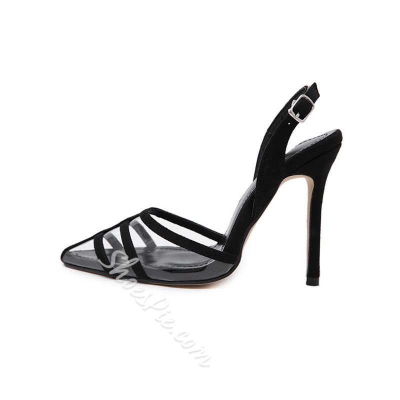 Shoespie Clear Black Stiletto Heel Slingback Sandals