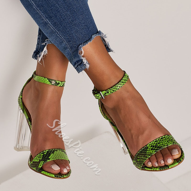 Shoespie Snake Pattern Clear Chunky Heel Buckle Sandals