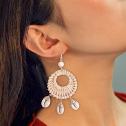 Handmade Shell Wooden Drop Earrings For Women