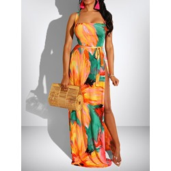 Split Floor-Length Sleeveless Women's A-Line Dress