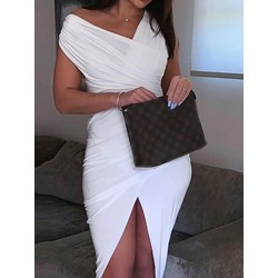 Knee-Length Asymmetric Short Sleeve Women's Bodycon Dress
