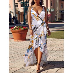 Floor-Length Sleeveless Print Women's V-Neck Dress