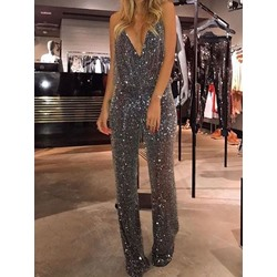 Plain Sequin Full Length Strap Slim Women's Jumpsuit