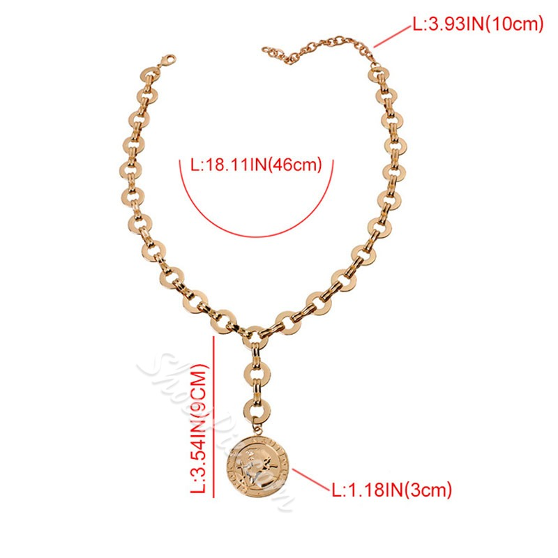 Y Type Gold Coin Pendant Necklace