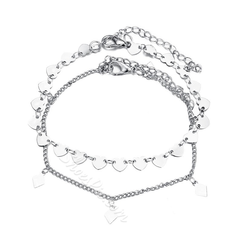 Boho Style Multilayer Heart Shape Anklet Foot Jewelry
