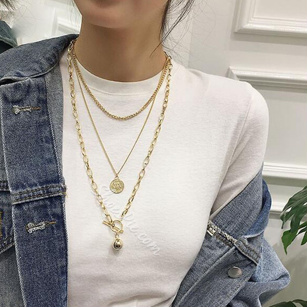 Vintage Carved Coin Gold Color Layered Necklace For Women
