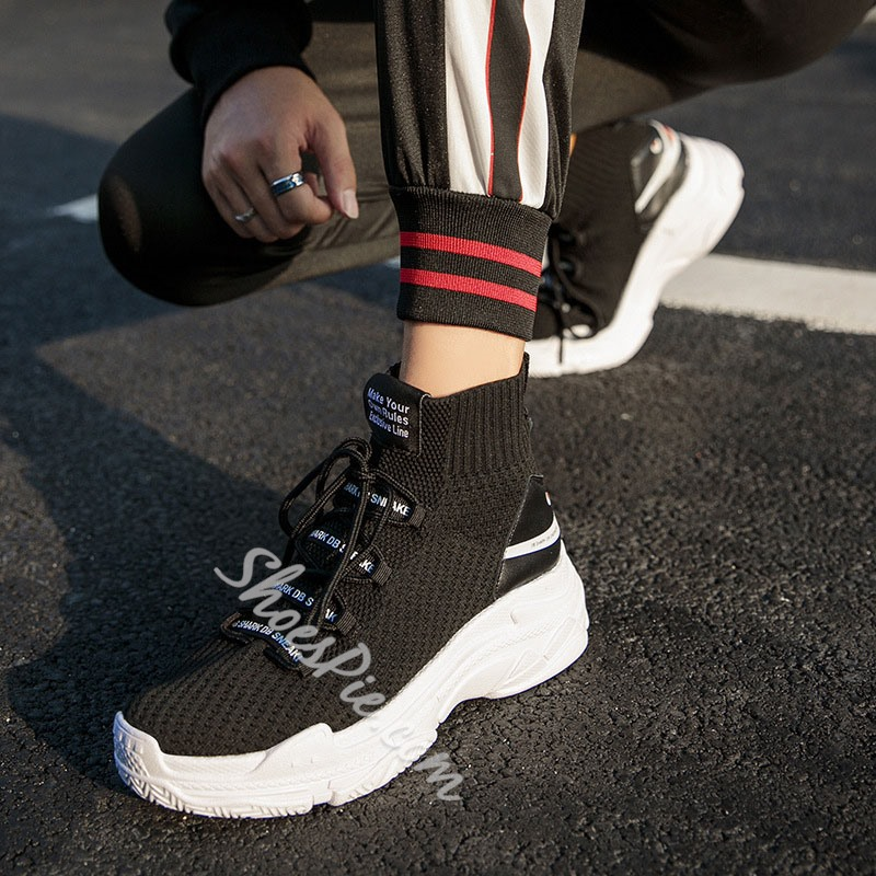 Shoespie Lace-Up Sports High Top Chunky Men's Sneakers