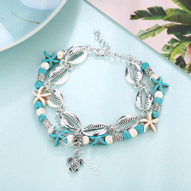 Vintage Shell Beads Multi Layer Anklets For Women