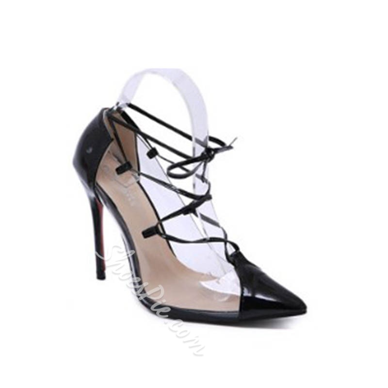 Shoespie Clear Lace-Up Stiletto Heel Pumps