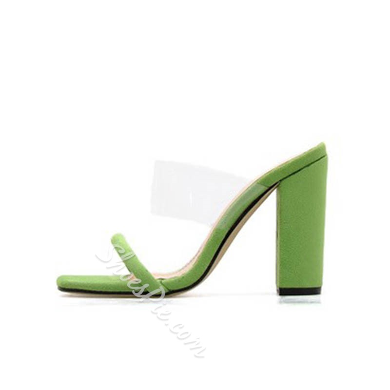 Shoespie Jelly Chunky Heel Neon Slippers