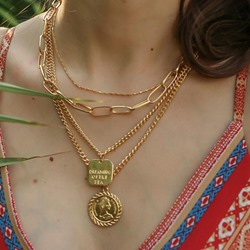 Trendy Gold Coin Copper Multi Layer Tags Necklace