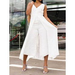 Plain Patchwork Mid-Calf Slim Women's Jumpsuit