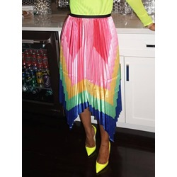 Color Block Ankle-Length Pleated Office Lady Women's Skirt
